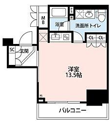 SHINAGAWA TOWER FACE 10階ワンルームの間取り