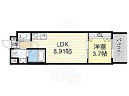 おおさか東線 南吹田駅 徒歩7分の賃貸マンション 2階1LDKの間取り