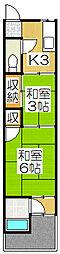 京都府京都市山科区日ノ岡石塚町の賃貸アパートの間取り