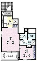 JR福塩線 備後本庄駅 徒歩26分の賃貸アパート 1階1SKの間取り