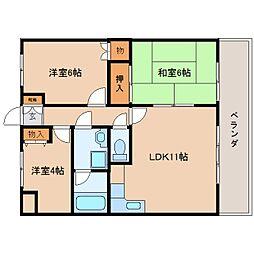 奈良県香芝市西真美1丁目の賃貸マンションの間取り