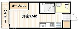 広島高速交通アストラムライン 広域公園前駅 徒歩6分の賃貸アパート 2階ワンルームの間取り