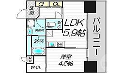 Bon Condminium Umeda 9階1LDKの間取り