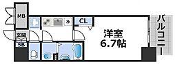 プレサンス立売堀ベルヴィル 2階1Kの間取り