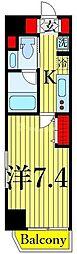 One ROOF Residence Kiba WEST 7階1Kの間取り