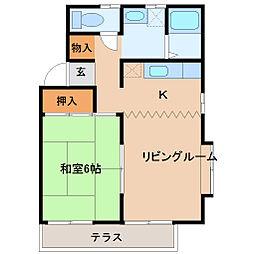 埼玉県東松山市松本町2丁目の賃貸アパートの間取り