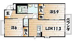 シャーメゾンJ・K A棟[2階]の間取り