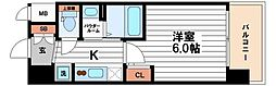 エステムコート難波WEST-SIDE7グローブ 9階1Kの間取り