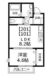 東京都江戸川区西葛西7丁目の賃貸アパートの間取り