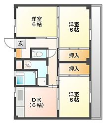 ビレッジハウス迎田2号棟[5階]の間取り