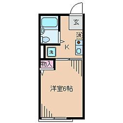 神奈川県横浜市港北区箕輪町1丁目の賃貸アパートの間取り