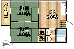 ドミールマサB[2階]の間取り