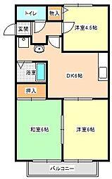 兵庫県神戸市西区中野2丁目の賃貸アパートの間取り