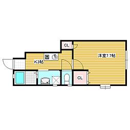 岡山県岡山市中区土田の賃貸アパートの間取り