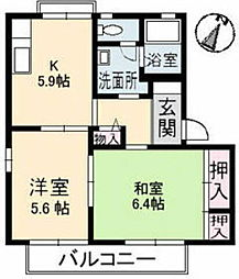 岡山県総社市総社の賃貸アパートの間取り
