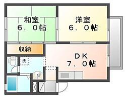 岡山県岡山市北区中仙道1丁目の賃貸アパートの間取り