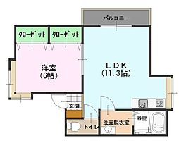 サンハイツアメニティI 2階1LDKの間取り