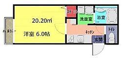 JR高崎線 上尾駅 徒歩14分の賃貸アパート 2階1Kの間取り