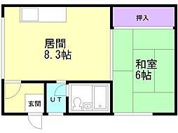 浪岡アパート 1階1LDKの間取り