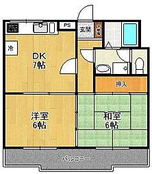 武庫之荘ベルエアー[2階]の間取り