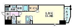 Osaka Metro堺筋線 南森町駅 徒歩7分の賃貸マンション 2階1Kの間取り