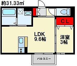 Polonia MatsubaraA棟 3階1LDKの間取り