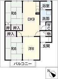 タウンKOSE 1棟[2階]の間取り
