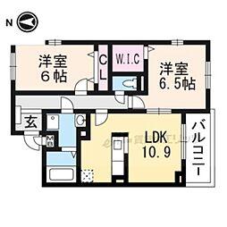 JR東海道・山陽本線 長岡京駅 バス22分 菱川町下車 徒歩7分の賃貸アパート 2階2LDKの間取り