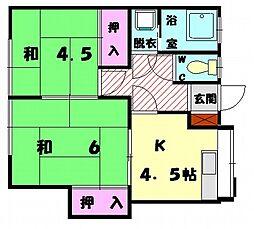 福岡県福岡市東区若宮4丁目の賃貸アパートの間取り