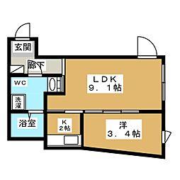 SOU目黒 3階1LDKの間取り