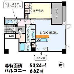 シエリアタワー千里中央 39階1LDKの間取り