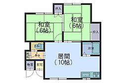 北海道札幌市手稲区富丘一条7丁目の賃貸アパートの間取り