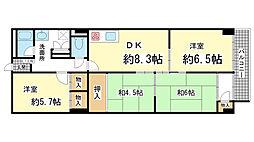 兵庫県神戸市北区泉台1丁目の賃貸マンションの間取り