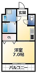Osaka Metro千日前線 今里駅 徒歩7分の賃貸マンション 4階1Kの間取り