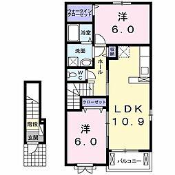徳島県板野郡北島町中村字前田道添の賃貸アパートの間取り