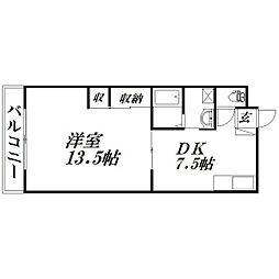 静岡県浜松市中区元魚町の賃貸マンションの間取り