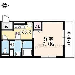 近鉄京都線 三山木駅 徒歩5分の賃貸アパート 1階1Kの間取り