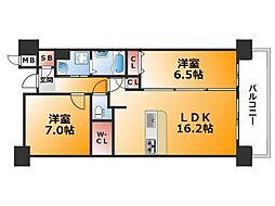 大阪府大阪市浪速区難波中3丁目の賃貸マンションの間取り