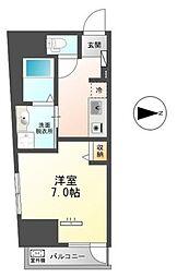 東武伊勢崎線 梅島駅 徒歩14分の賃貸マンション 5階1Kの間取り