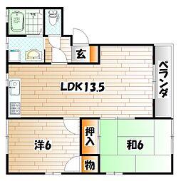 福岡県北九州市小倉南区志井2丁目の賃貸アパートの間取り