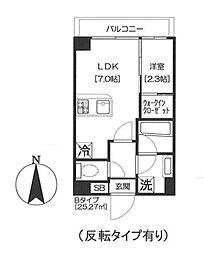 都営浅草線 大門駅 徒歩11分の賃貸マンション 10階1LDKの間取り