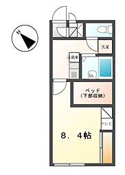 愛知県名古屋市天白区向が丘4丁目の賃貸アパートの間取り