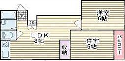 大阪府大阪市生野区鶴橋4丁目の賃貸マンションの間取り