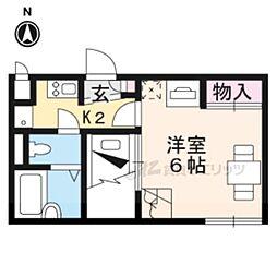 レオパレスRYOUMA 1階1Kの間取り