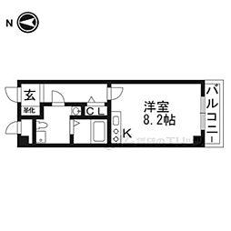 プラスコート西豊川 2階1Kの間取り