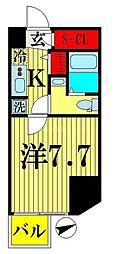 都営新宿線 西大島駅 徒歩4分の賃貸マンション 11階1Kの間取り