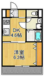 JR山陽本線 大久保駅 徒歩12分の賃貸アパート 1階1DKの間取り