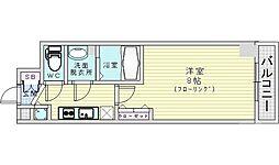 JR大阪環状線 桜ノ宮駅 徒歩11分の賃貸マンション 6階1Kの間取り