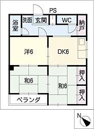 マンション水野[4階]の間取り