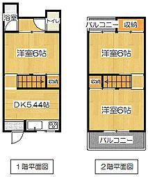 [テラスハウス] 大阪府摂津市鳥飼西1丁目 の賃貸【/】の間取り